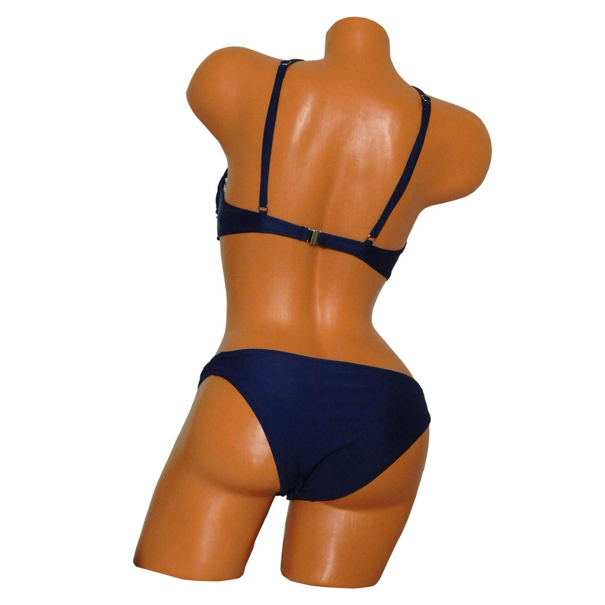 divatos kék magas nyakú criss-cross bikini háta