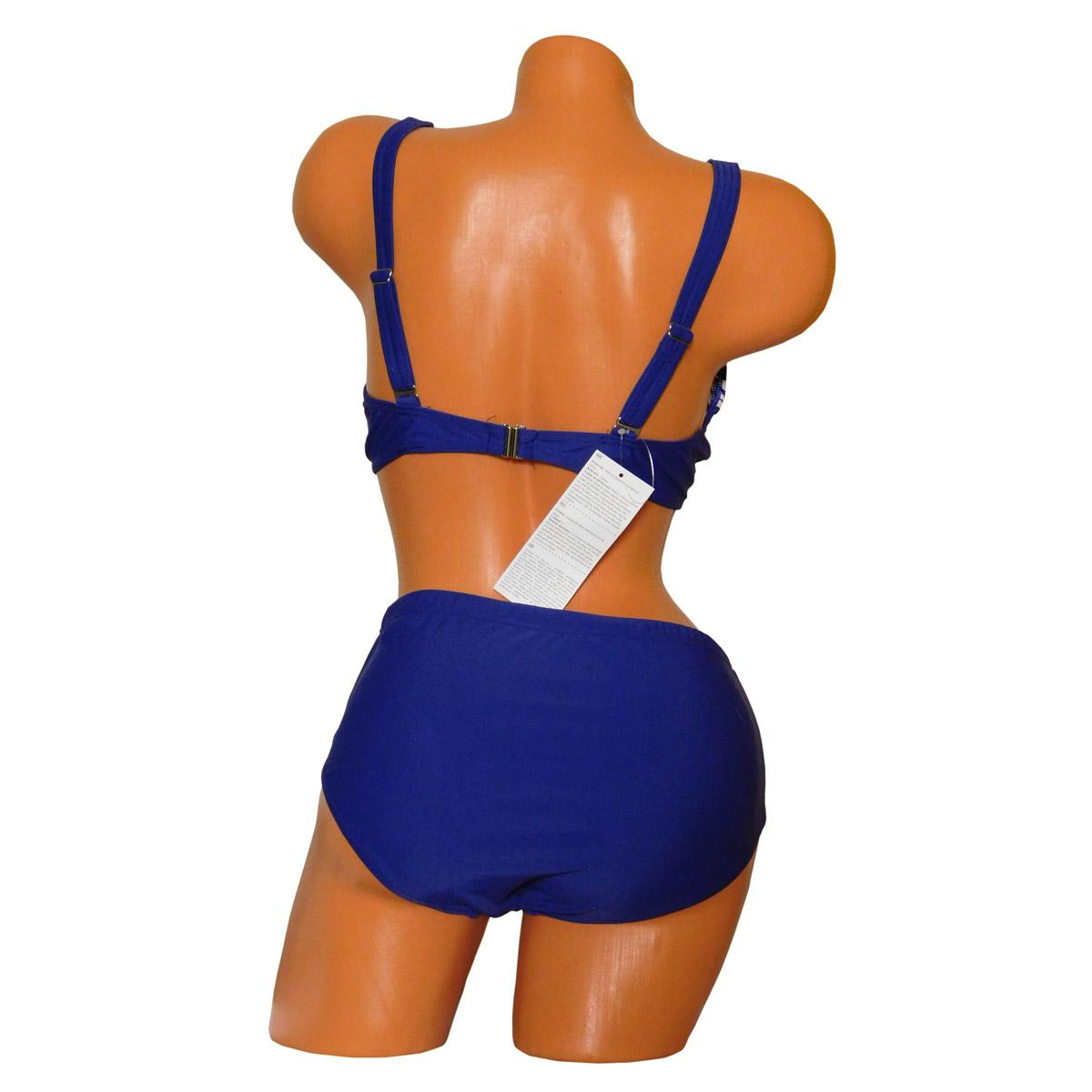 Kék fehér mintás nagyméretű bikini, merevítő nélkül