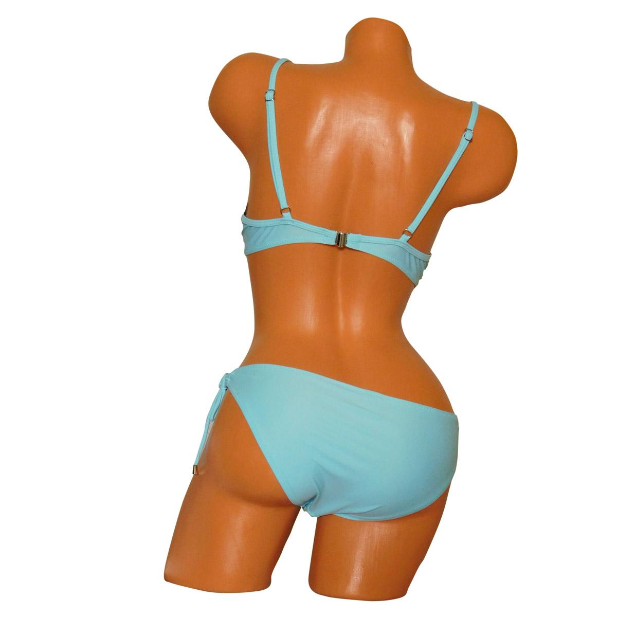 Merevítős push-up bikini, kötős csipkés bugyival kék szinben