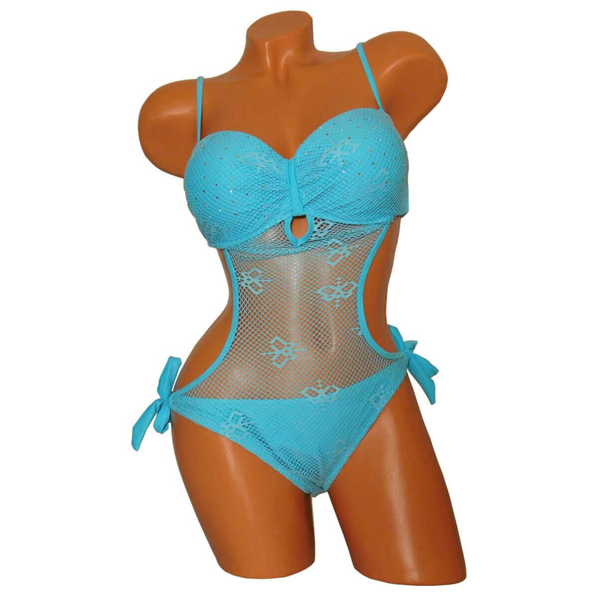 Divatos kék hálós trikini kötős alsó résszel