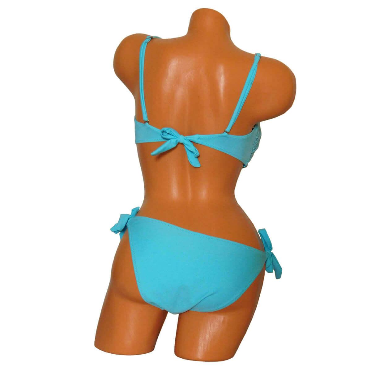 Kék színű hálós trikini háta