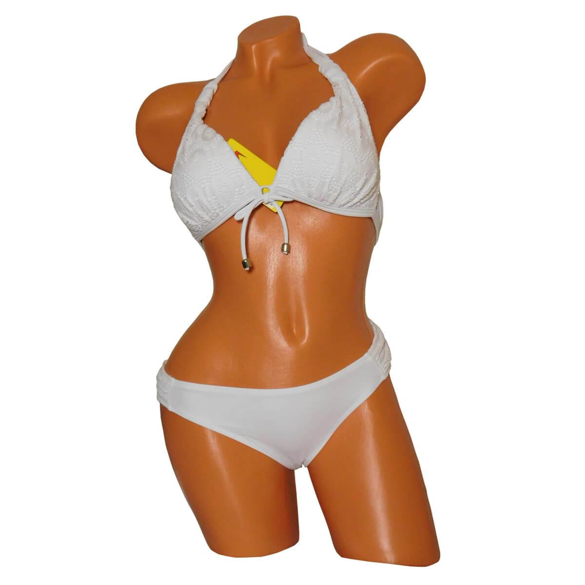 Fehér színű triangle bikini, oldalpántos, csipkés