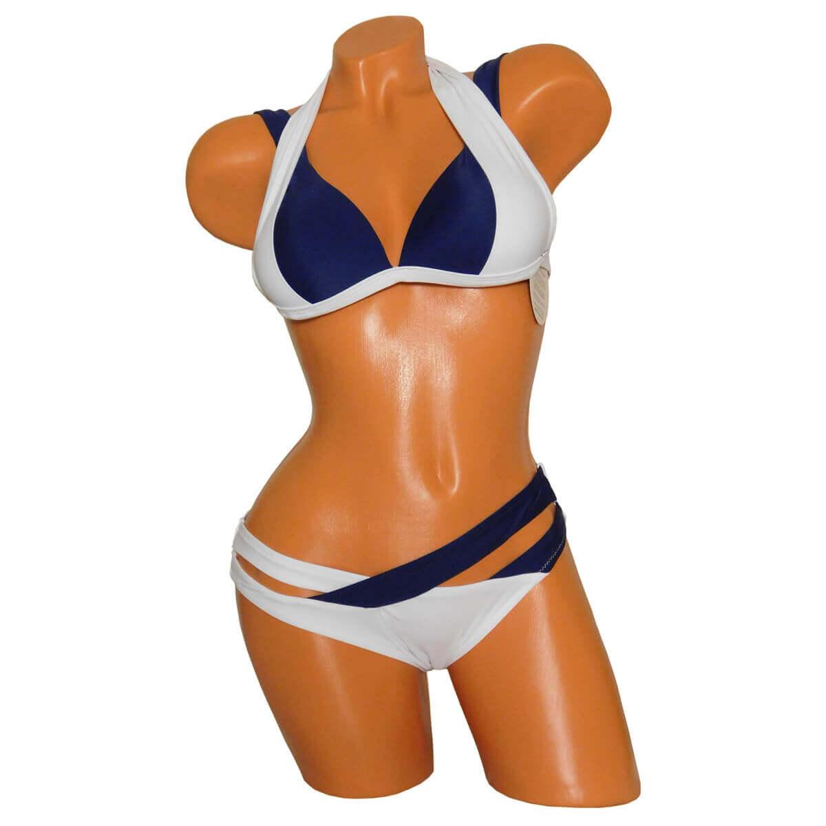 Kék - Fehér push up háromszög, triangle bikini 4530