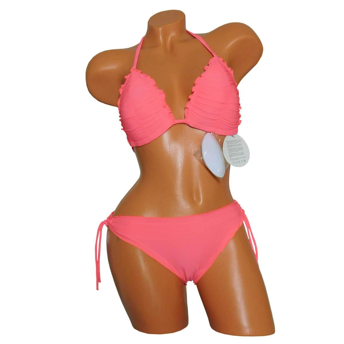 Korall, fodros triangle bikini (háromszög), kivehető push-up szivaccsal