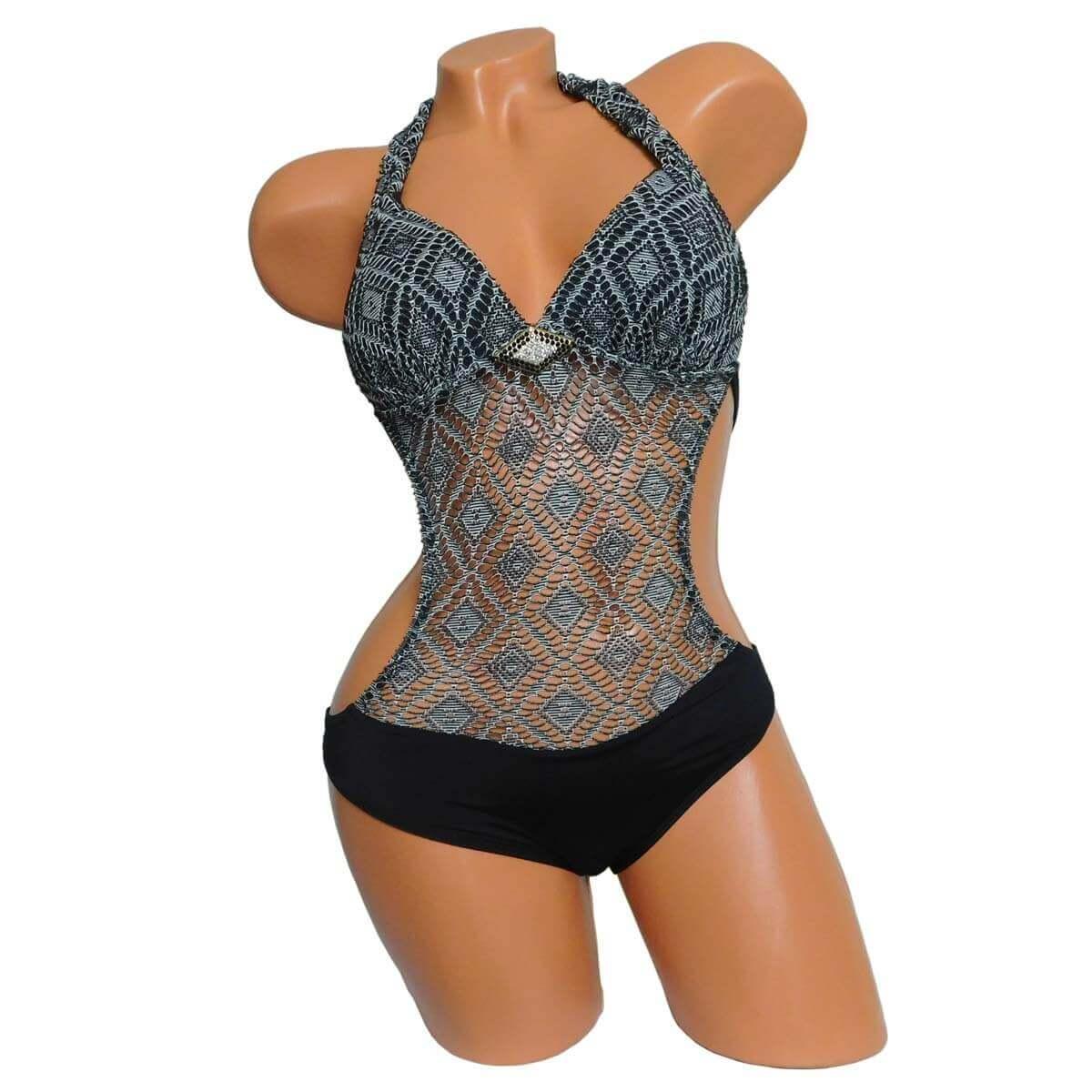 a701a29ead Fekete push up trikini, monokini 5299