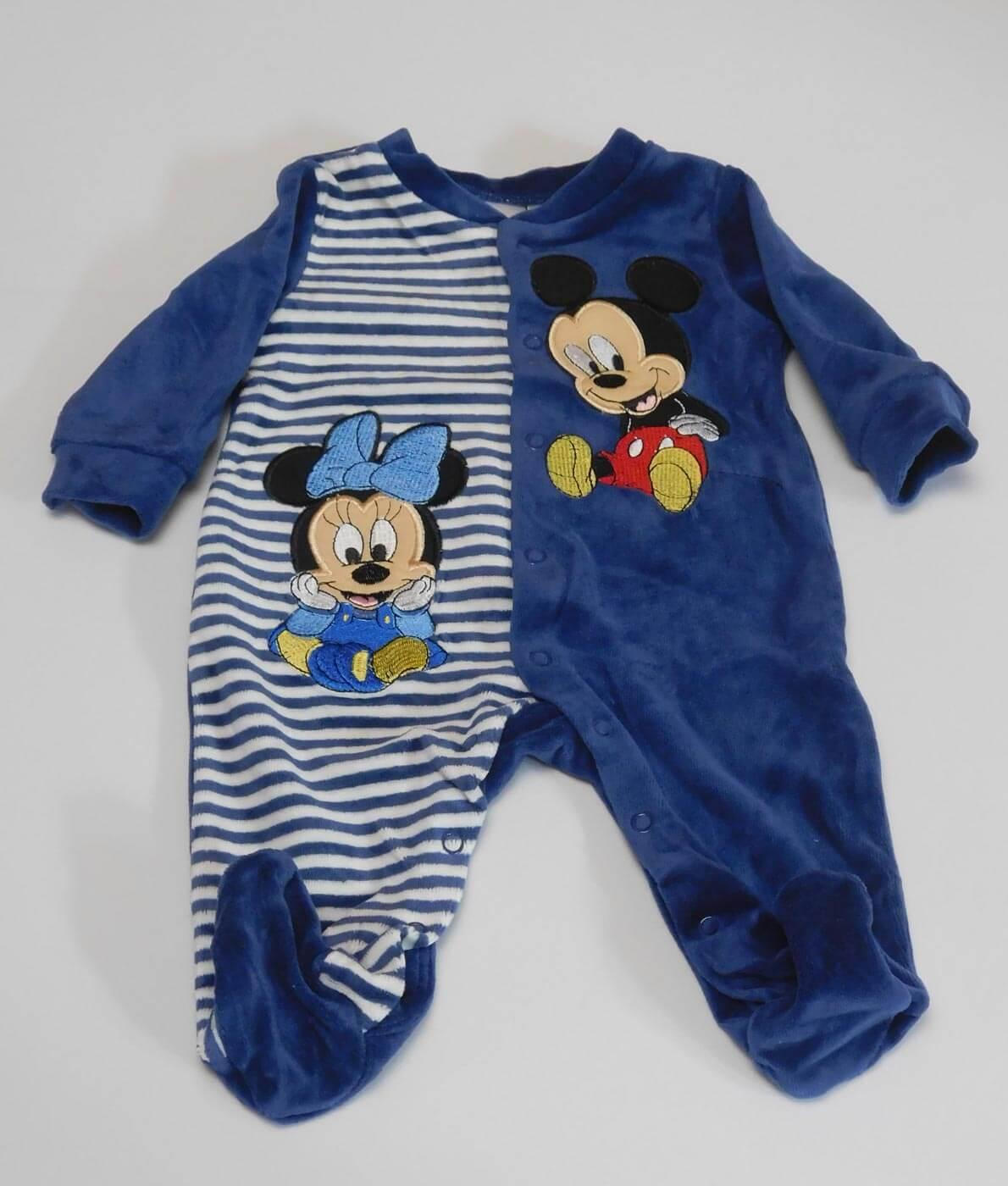 d28c2f9724 Disney Minnie & Mickey egeres hímzett plüss hosszú ujjú rugdalózó, Fiú -  Sötétkék