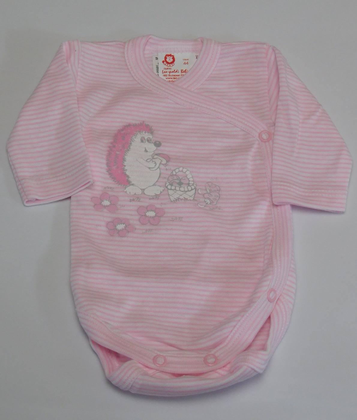 Koraszülött réklis kislány hosszú ujjú body - nyomott süni mintával -  rózsaszín aa3f81cac5