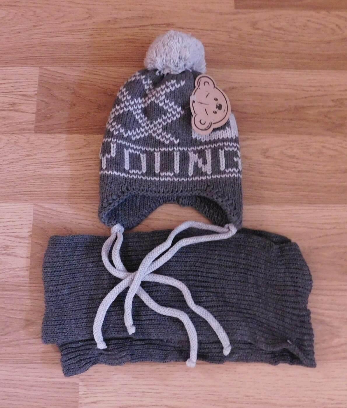 1bc1b6c41 Kötött, dupla rétegű baba fülvédős sapka + sál szett (6-18 hó) - SR036