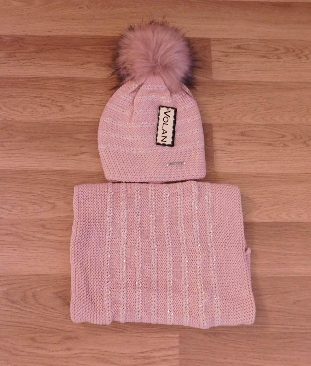 Női bojtos vastag téli sapka + sál szett - SR001 - Rózsaszín c258800ca3