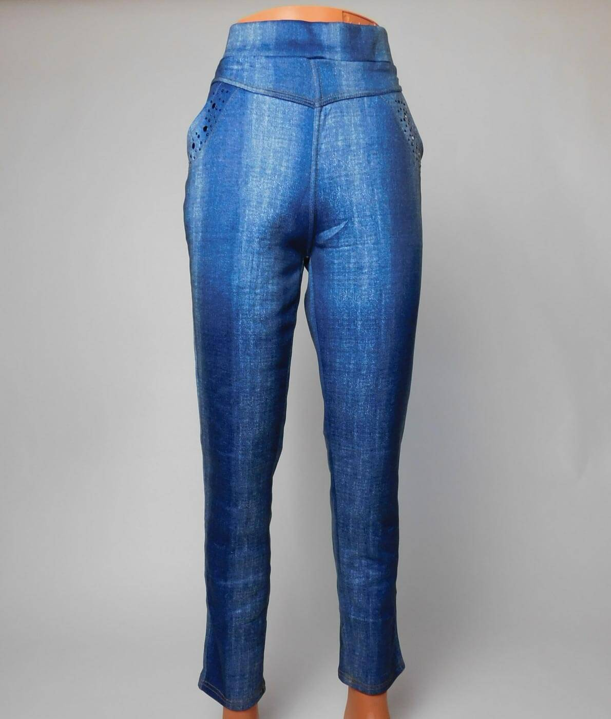 edea8ccea0c0 Nagyméretű farmer hatású vastag téli leggings - N194-144 - Kék