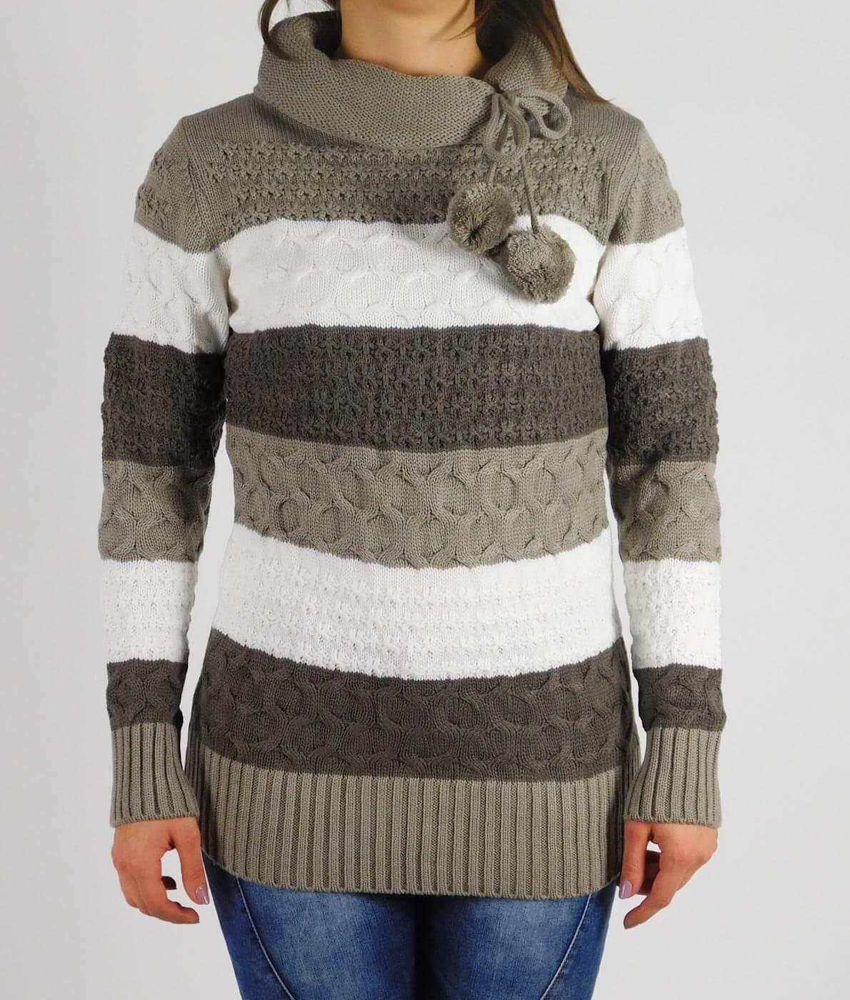 Garbó nyakú kötött pulóver