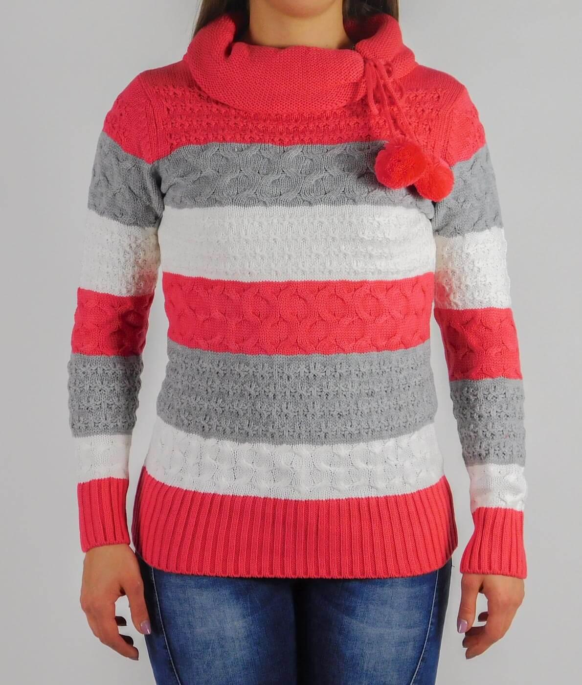 40913b5335 Garbó nyakú, csíkos női kötött pulóver - 13791 - Korall