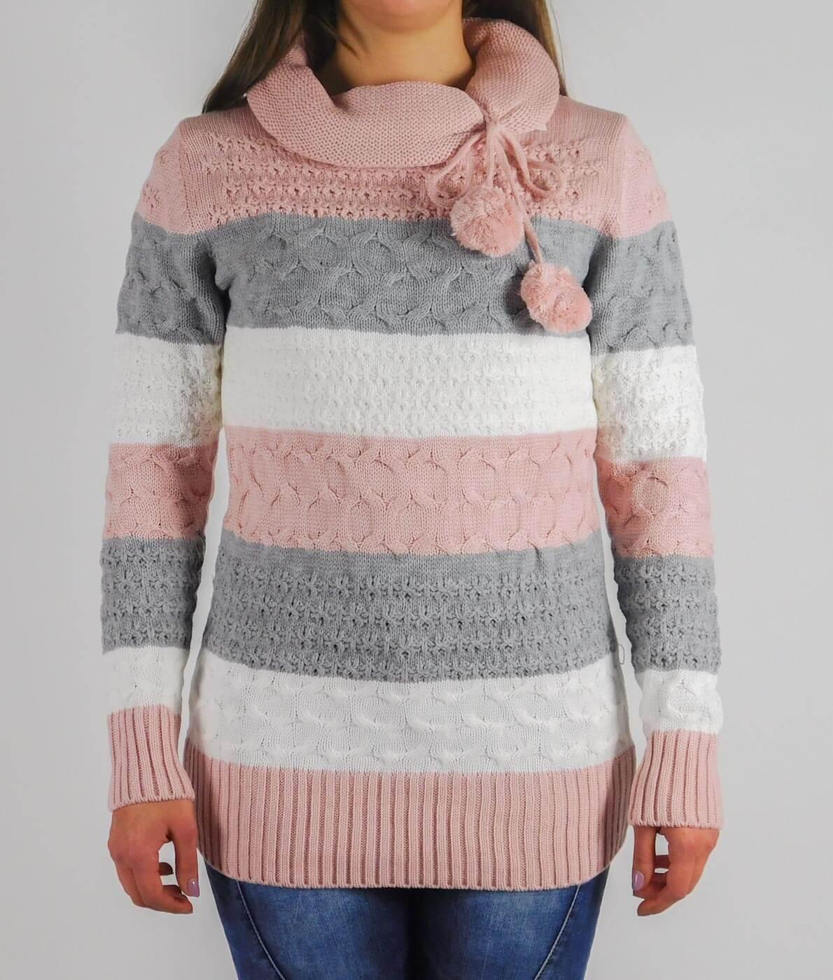 b2b9ab9024 Garbó nyakú, csíkos női kötött pulóver - 13791 - Rózsaszín