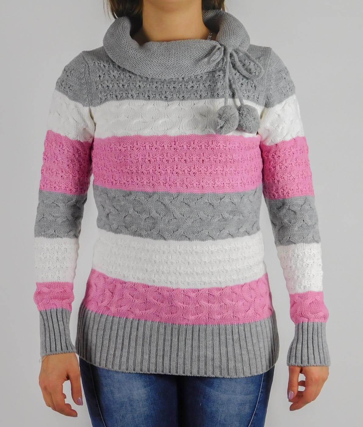 d729cd99d6 Garbó nyakú, csíkos női kötött pulóver - 13791 - Szürke